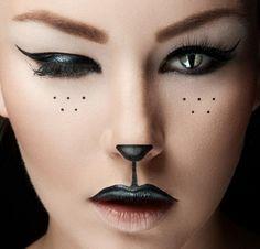 Halloween schminken -ideen-makeup-katze-gesicht-schoen-nase