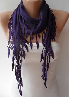Purple Scarf with Purple Trim Edge  Summer Colors by SwedishShop, $13.90