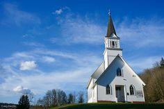Little white Church on a hill