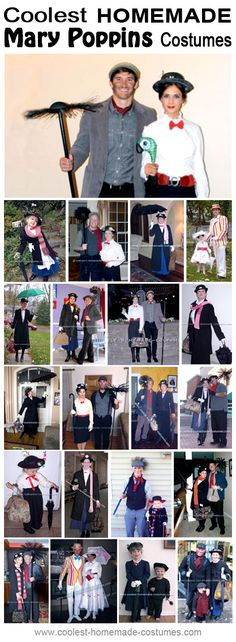 Homemade Mary Poppins Costume Collection - Coolest Halloween Costume Contest ok Halloween Costume Contest, Family Halloween Costumes, Disney Halloween, Halloween Outfits, Halloween Fun, Halloween Couples, Homemade Halloween, Group Costumes, Diy Mary Poppins Costume