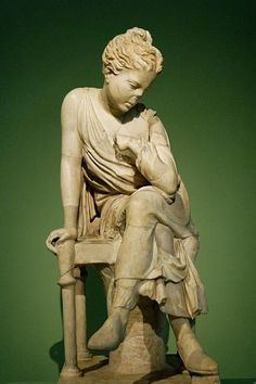 Seated girl, Roman statue (marble), possibly copy after Hellenistic original from the school of Lysippus, 2nd century AD (if copy, then original 4th c. BC), (Centrale Montemartini, Rome).