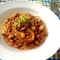 """Espaguete integral com molho """"à Carbonara"""" light"""