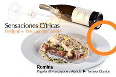 Filete de Pescado con Salsa Cremosa de Queso Mascarpone y Naranja. Armonizado con Teranier Classico y Equilibrado con San Pellegrino.