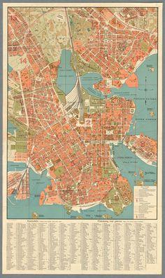 Map of Helsinki, 1924 Helsinki, Finland Map, Map Canvas, Wall Maps, Map Design, City Maps, High Resolution Photos, Cartography, Map Art