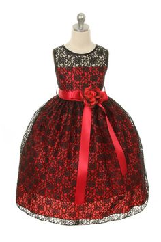 Flower Girl Dress Style 272 - SALE Black-White size 4, Red size 10 or Turquoise size 8 $29.99