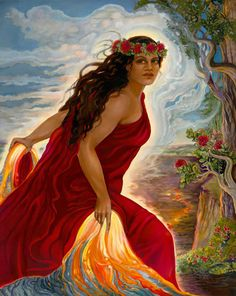 pele, hawaiian volcano goddess ... so destructive, and yet is the source of the islands themselves and all growing things on them ~ oil painting by linda rowell stevens