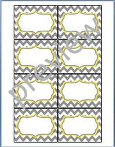 Teacher Chic Small Labels: Grey & Yellow. each set includes 8 pages of labels in four patterns.