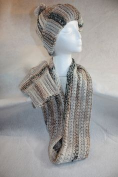 Crochet Hat, Fingerless Gloves, Double wrap Infinity Cowl Set w/free Shipping by pamsprideembroidery on Etsy