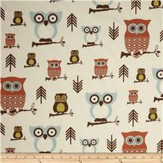 Premier Prints Sheeting Hooty Village/Natural