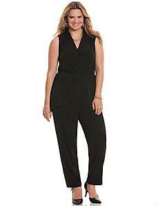 Simply Chic draped surplice jumpsuit #LaneBryant