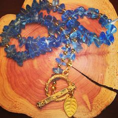 Choker Necklace made with Sapphire blue glass chips by 0715Jewelry