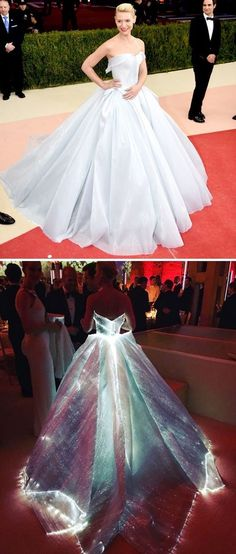 Claire Danes glowing in a Cinderella-esque Zac Posen gown lined with fibre optics.  Red carpet looks from Met Gala 2016