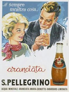 Retro advertisement. Vecchio manifesto pubblicitario san pellegrino