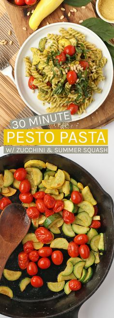 This Pesto Pasta is made with zucchini and summer squash for a wholesome and delicious meal that can be made in under 30 minutes. #vegan #veganrecipes #dinner #30minutemeals