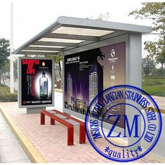 Metal Bus Stop Shelter Advertising Bus Station Design Bus Shelter ...
