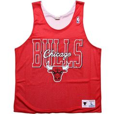 Mitchell and Ness Chicago Bulls Reversible Mesh Tank Top in scarlet and  white T Shirt Vest e83e119eb