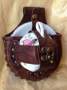 Steampunk Tea Time Tea Cup Holster Set https://www.etsy.com/listing/463053314/steampunk-leather-tea-cup-holster-set