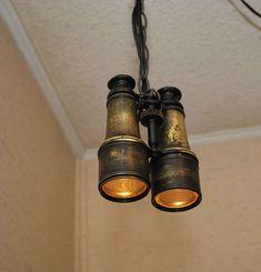 VTG Lemaire Fab Paris Binoculars Hanging Swag Lamp Light Steampunk Repurposed