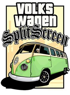 Volkswagen tipo 2 Split Screen Van / Bus (posteriore) - LA stile Poster