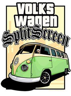 Volkswagen Type 2 Split Screen Van / Bus (rear) - LA Style Poster