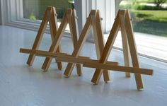 Set Of 10 Small Wooden Easels - Natural Wood - Aceo - Second Set Ships Free