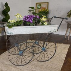 Turquoise Crackle Forged Iron Plant Stand Display Flower Cart Antiqued White