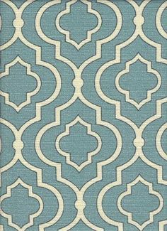 Dalio Mineral  Intriguing 100% cotton contemporary diamond medallion pattern on a soft blue background with accents in white.
