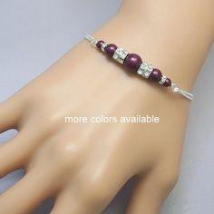 Swarovski Blackberry (Plum Purple) Pear Bracelet, Bridesmaids Swarovski Pearl Chain Bracelet, Bridesmaid Gift  PEARLS AVAILABLE IN OTHER