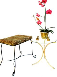 Vtg Hollywood Regency Leopard Print Metal Vanity Bench by ElectricMarigold on Etsy
