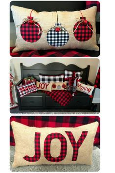It's a Buffalo Check Christmas Bonanza featuring Burlap, Black, White, and Red. These pillows will look amazing with your Farmhouse Christmas Decor! The rustic touch of burlap will blend wonderfully with any decorating style and give a great texture alo Burlap Christmas, Farmhouse Christmas Decor, Christmas Sewing, Christmas Home, Christmas Projects, Christmas Holidays, Christmas Decorations, Diy Christmas Pillows, Christmas Pillow Covers