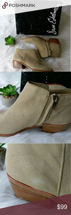 Sam Edelman Petty Bootie Size 8.5 The signature Petty ankle boot is a seasonless staple among starlets and street-style icons alike. Granted 'cult favorite' status for combining comfort, style and versatility, the must-have bootie features a low, stacked heel and ankle zip. Light gold colorway features an allover shimmer. Shine in the Petty ankle boot. New in box, never worn. Size 8.5. May have some scuffs as shown from storage. Retail $150 Sam Edelman Shoes Ankle Boots & Booties