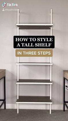 Minimalist Bookshelves, Tall Bookshelves, Tall Shelves, Bookshelves In Bedroom, Small Bookshelf, Modern Bookshelf, Bookshelf Styling, Bookshelf Ideas, Home Office Shelves
