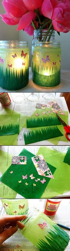 Easy Kids Craft Ideas: Butterfly Garden Mason Jars.