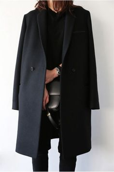 Minimal chic: dark winter coat