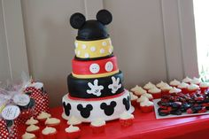 Mickey birthday cake Mickey Birthday Cakes, Mickey Cakes, Mickey Mouse Cake, Mickey Party, 5th Birthday, Birthday Parties, Cakes For Boys, Boy Cakes, Cakes And More