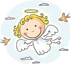 Buy Angel Flying with Birds by katya_dav on GraphicRiver. Cute angel flying with two birds Angel Sketch, Angel Drawing, Cartoon Kids, Cute Cartoon, Drawing For Kids, Art For Kids, Engel Illustration, Angel Clipart, Angel Flying
