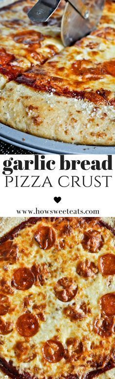 Garlic Bread Pizza Crust. This is INSANE! Pizza ON garlic bread! I howsweeteats.com @howsweeteats