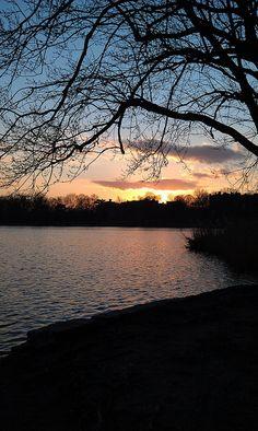 Winter sunset at Prospect Park Lake