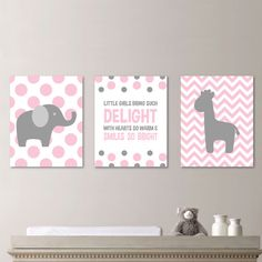 Baby Girl Nursery Art Chevron Elephant by RhondavousDesigns2