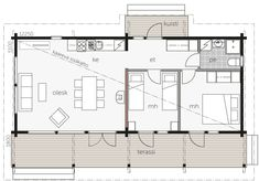 Högsåra - Fritidshus / Kontio Small House Floor Plans, Cabin Floor Plans, Family House Plans, House Design Drawing, Tiny House Design, House In The Woods, My House, Micro House, A Frame House