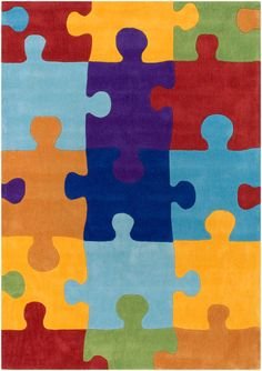 modernrugs.com Puzzle Pieces Modern Kids Rug - Love this, all things puzzly warms my heart for my Ethan!