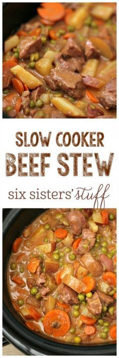 Slow Cooker Beef Stew - SixSistersStuff.com | One of the easiest recipes I have ever made - and it's super hearty and filling! It can also be made into a freezer meal and served for a quick dinner!
