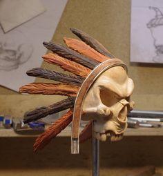 Injun Joe Skull on the table presently