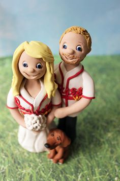 Braves Baseball Wedding Cake Topper by Cherry Red Toppers