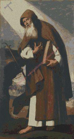venta por internet de grafico a punto una hermosa pintura de Sant Antonio Abad de zurbaran. DMC moulinez, tela especial para punto de cruz: aida 14.