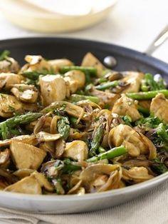 Chicken, mushrooms, asparagus.