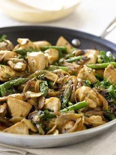 Chicken, mushrooms, asparagus.