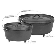 Explore the taste of good food while camping! Cast iron camping dutch oven will be the perfect addition to your camping cookware line. Offered in 6 and 4 quart sizes.