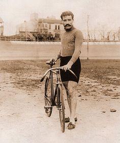 "Vintage bicycle racer guy, Mustache, Leon George,photo, BIKE, 24""x20"" ART Print"