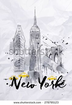 Watercolor New York skyscrapers, Empire State Building, Brooklyn Bridge in vintage style drawing with drops and splashes on crumpled paper